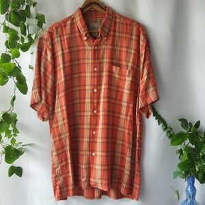 lightweight linen blend plaid button down sz XL